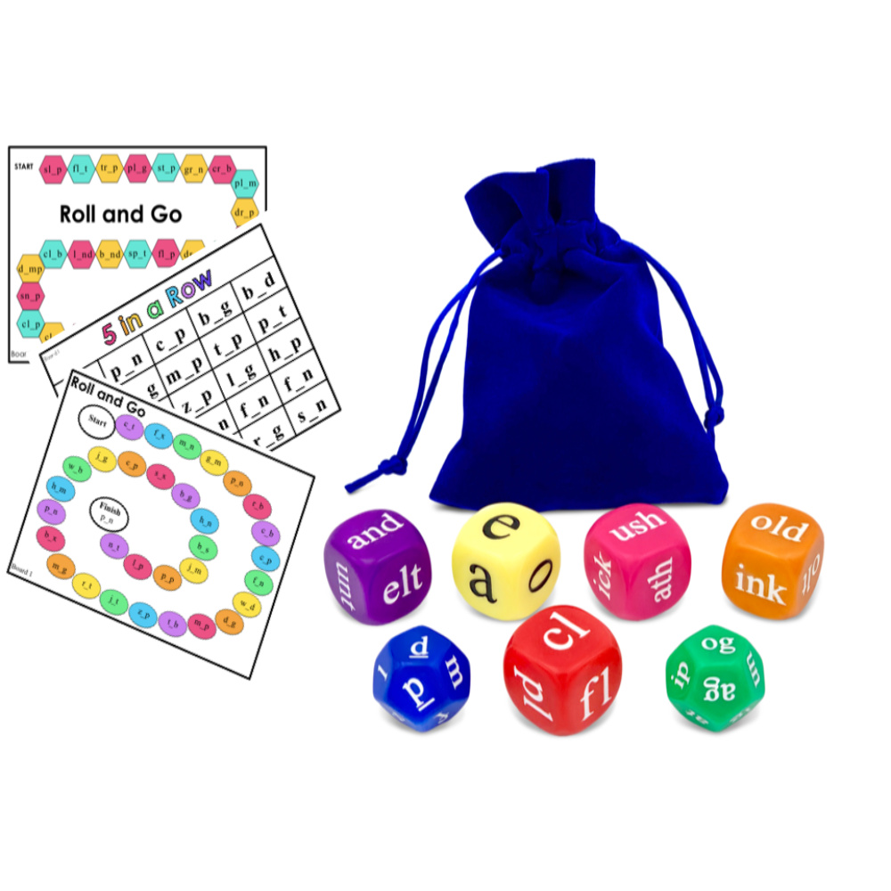 Large 25mm Phonics Dice 6 x 10 Sided Dice Reading Resource